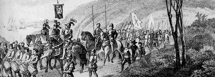Pedro de Valdivia avanza junto a su ejército