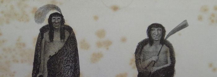 A la izquierda, representación de indígena Patagón. A la derecha, indígena de Tierra del Fuego.