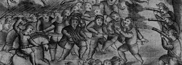 Enfrentamiento entre mapuches y españoles.