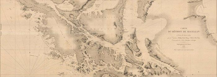 Mapa del estrecho de Magallanes, 1838. Sala Medina.