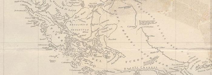 Mapa del área Fuego-Patagónica realizado entre los años 1826-1830.