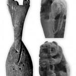 Cuchara de madera del Período Medio con felino y ser humano.